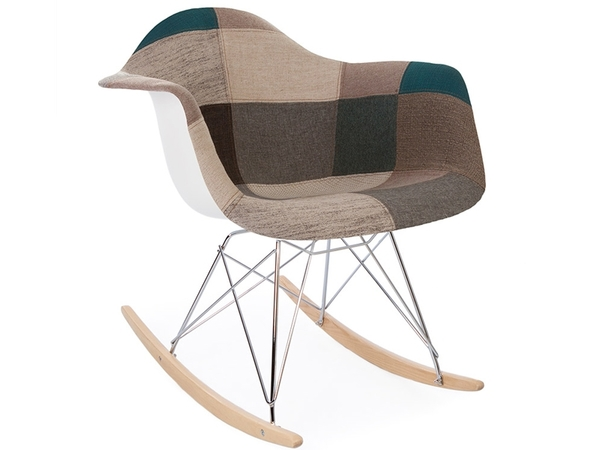 Eames rocking chair RAR - Patchwork blu